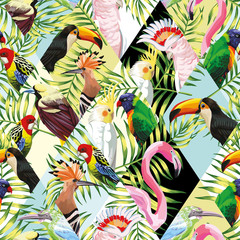 Patchwork tropical birds palm leaves multicolor background