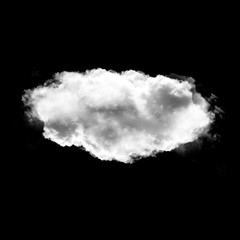 Cloud shape isolated over black baackground