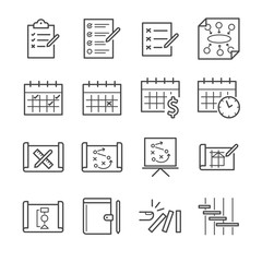 Plan and schedule icon set