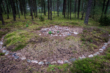 Graves of Stone Circles Archaeological Site in Lesno, Cassubia region of Poland