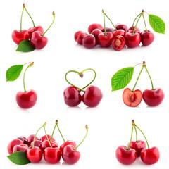Fresh sweet cherries isolated.