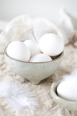 Eggs in a white mask on a white background. concept for easter design postcard