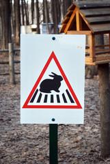 Hare crossing road sign in Ukraine