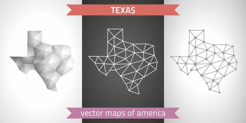 Texas set of grey and silver mosaic 3d polygonal maps. Graphic vector triangle geometry outline shadow perspective maps