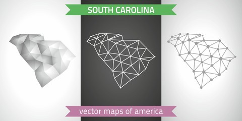 South Carolina set of grey and silver mosaic 3d polygonal maps. Graphic vector triangle geometry outline shadow perspective maps