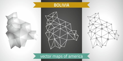 Bolivia set of grey and silver mosaic 3d polygonal maps. Graphic vector triangle geometry outline shadow perspective maps