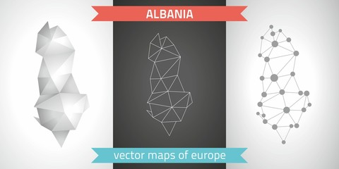 Albania set of grey and silver mosaic 3d polygonal maps. Graphic vector triangle geometry outline shadow perspective maps