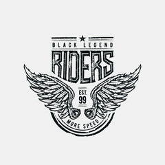 Black Legend Riders typographic design