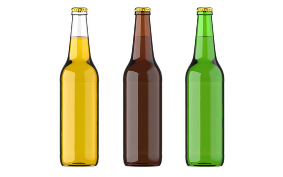 Bottled beer yellow, green and brown colors or beverage or carbonated drinks. Studio 3D render, isolated on white background