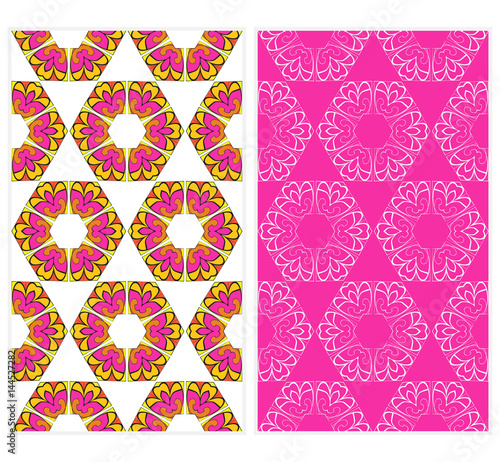 Vertical Seamless Patterns Set Abstract Floral Geometric Texture