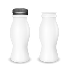 White empty plastic bottle for yogurt. Packaging for sour cream, sauce and snack