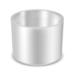 Round metal can for food, cookies and gifts. Flower vase
