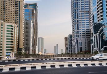 Sharjah. Summer 2016. Modern skyscrapers in urban city style
