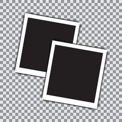 Two empty retro photo frame on a transparent background