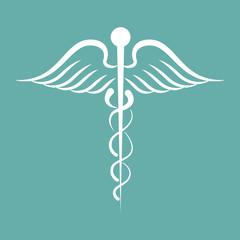Caduceus medical symbol in white. Vector illustration eps10