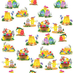 Seamless pattern made of easter watercolor illustrations with chickens and eggs