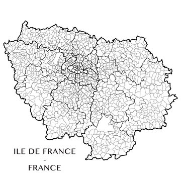 Detailed map of the region of Ile de France, France including all the administrative subdivisions (departments, arrondissements, cantons, and municipalities). Vector illustration