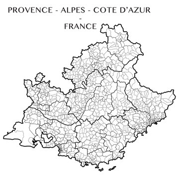 Detailed map of the region Provence-Alpes-Cote d'Azur, France including all the administrative subdivisions (departments, arrondissements, cantons, and municipalities). Vector illustration
