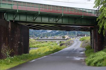 Railway bridge over Uno River in Kameoka, Japan