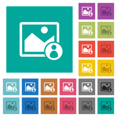 Image owner square flat multi colored icons