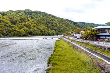 Katsura River in Arashiyama District, Kyoto, Japan