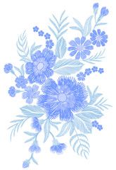 Blue embroidered flower bouquet field fashion patch fabric ornament traditional ethnic vintage embroidery vector illustration