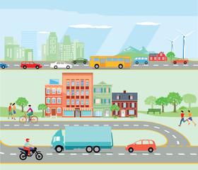 Straßenverkehr mit Umgehungsstraße und Autobahn Illustration