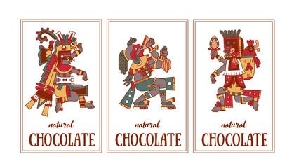 Vector illustration aztec cacao pattern for chocolate package design.