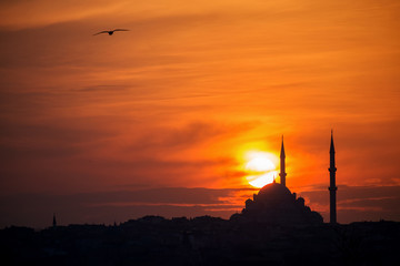 Mosque silhouette on The sunset and two minarets