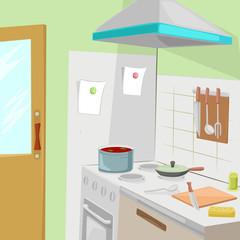 Kitchen with furniture. Cozy kitchen interior