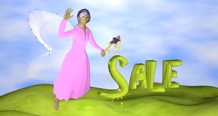 3d-Illustration,  rosa Fee mit dem Schriftzug Sale