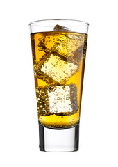 Glass of energy drink with bubbles and ice cubes