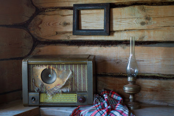 Old vintage items in the old rural abandoned house