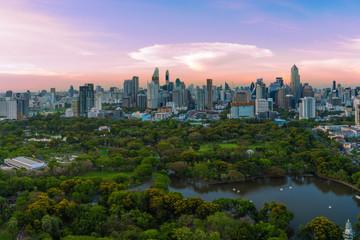 Sunset scence of Bangkok skyline panorama