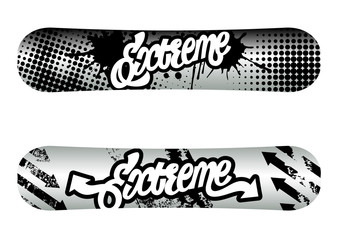 Vector illustration snowboard design with text.