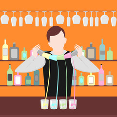 Barman show. Night life in bar. Man mix beverage. Alcoholic cocktails and bottles icon set.