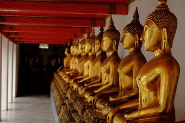 Row Of Buddha statue at Wat Pho, Bangkok Thailand