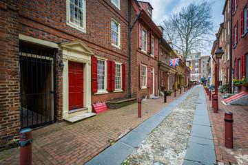 Elfreth's Alley, in Old City, Philadelphia, Pennsylvania.