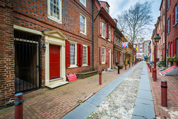 Elfreth's Alley, in Old City, Philadelphia, Pennsylvania.