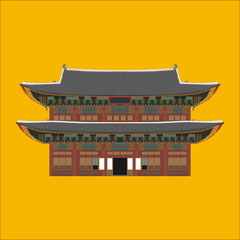 Changdeokgung South Korea country design flat cartoon elements. Travel landmark, Seoul tourism place. World vacation travel city sightseeing Asia building collection. Asian architecture isolated