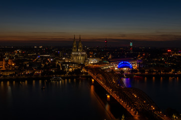 Deutzer bridge in Cologne at night