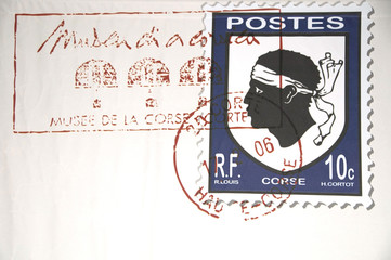 A stamp on a letter from Corsica