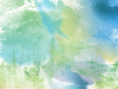 Beautiful soft Blue and green  Watercolor Background