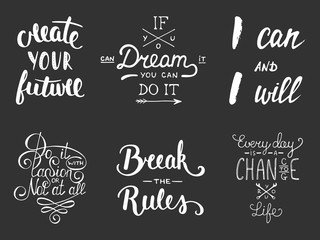 Set of vector inspirational and motivational lettering for greeting cards, decoration, prints and posters. Hand drawn typography design elements. Handwritten lettering. Modern calligraphy.
