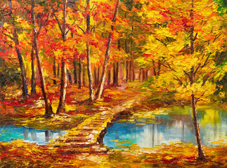 Oil painting landscape - autumn forest near the river, orange leaves