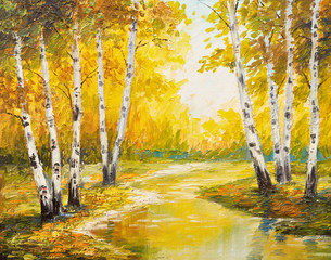 Wall Murals Orange Oil painting landscape - autumn forest near the river, orange leaves