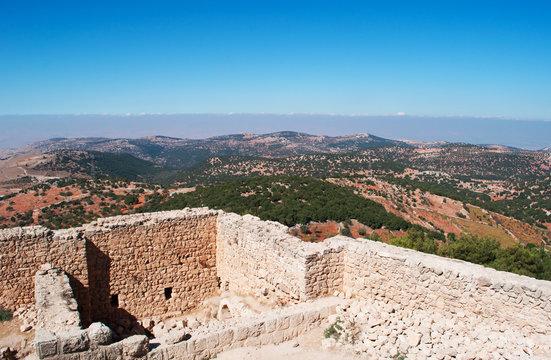 Giordania, 06/10/2013: la valle del Giordano vista dal castello di Ajlun, fortificazione musulmana costruita nel XII secolo considerata uno dei maggiori esempi di architettura militare araba