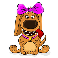 Adorable Cartoon Girl Dog