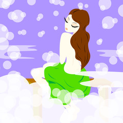 Nude brunette in a green towel sits on a bench after a shower, vector