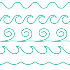 Vector turquoise line waves set on white background.